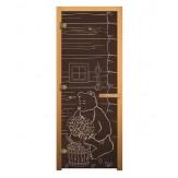 Стеклянная дверь для бани и сауны коробка бук цвет бронза рисунок мишка 1900*700 мм 3 петли 710 правая