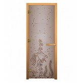 Стеклянная дверь для бани и сауны коробка осина цвет сатин рисунок рыбка 1900*700 мм 3 петли 710 правая