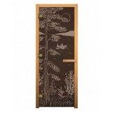 Стеклянная дверь для бани и сауны коробка осина цвет бронза рисунок Тайга 1900*700 мм 3 петли 716 gb правая