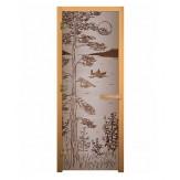 Стеклянная дверь для бани и сауны коробка осина цвет сатин рисунок тайга 1900*700 мм 3 петли 710 левая