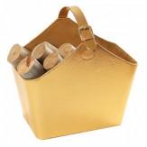 Дровница D500GD кожаная, цвет золота