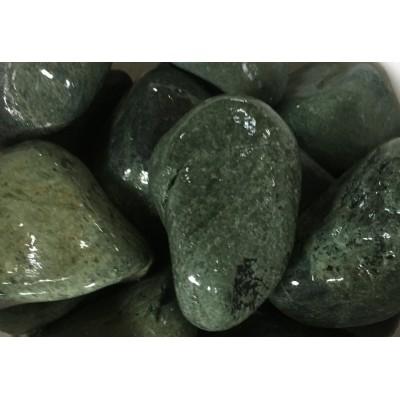 Нефрит шлифованный (темно-зелёный) для бани и сауны, 1 кг в экологичной упаковке