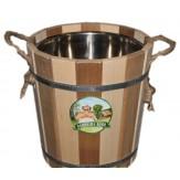 Запарник для бани деревянный с нержавеющей вставкой 12 л  Zebra