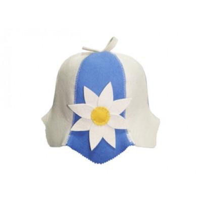 """Шляпка-колокольчик (шапка) для бани и сауны """"Цветы"""" голубая"""