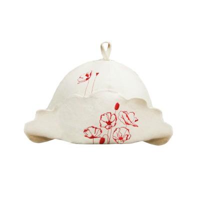 """Шляпа (шапка) для бани и сауны """"Маки"""""""