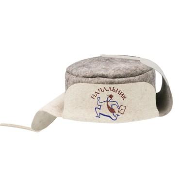 """Ушанка (шапка) для бани и сауны из войлока """"Начальник"""""""