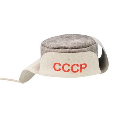 """Ушанка (шапка) для бани и сауны из войлока """"СССР"""""""