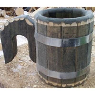 Кружка деревянная из липы 1 л под старину (Параон)