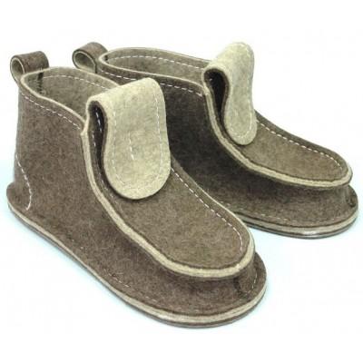 Полуботинки из войлока со шнурками (подошва резина) р.39-40