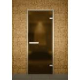Стеклянная дверь для турецкой бани хамама Aldo ДТ Бронза матовая 80х190