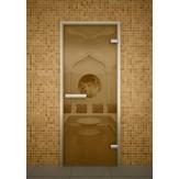 Стеклянная дверь для турецкой бани хамама Aldo бронза прозрачная 690*2090 без порога
