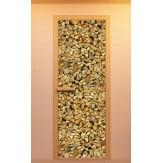 Стеклянная дверь для бани и сауны Aldo с фотопечатью 690х1890мм, Серия Дровница коробка из ольхи и березы