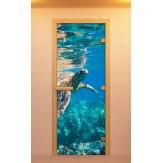 Стеклянная дверь для бани и сауны Aldo с фотопечатью 790х1990мм, Серия Водный мир коробка из ольхи и березы