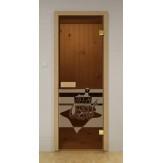 Дверь для сауны стеклянная, SAUNA MARKET  Морское дно, бронза, коробка из лиственных пород 7х19, шт