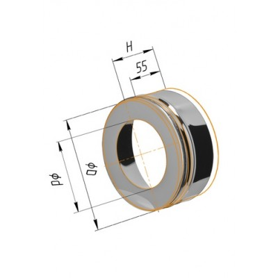 Заглушка с отверстием Ferrum Ф=115*200 мм из стали AISI 430 0,5мм