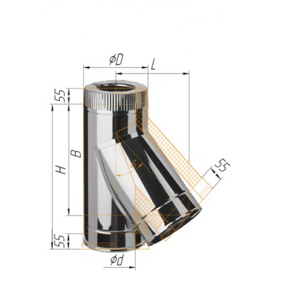 Сэндвич-тройник 135° Ferrum AISI 430 0,8 мм+нерж. Ф115*200