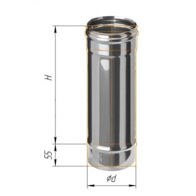 Труба Ferrum 0,5м AISI 430 0,8 мм Ф=115 мм