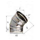 Колено Ferrum 3 секции угол 135 d=120 мм из стали AISI 430 0,8 мм