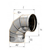 Колено Феррум угол 90° Ф130 из нержавеющей стали толщиной0.8мм