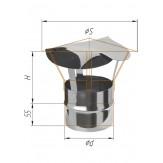 Зонт К для дымохода Феррум Ф115 из нержавеющей стали толщиной 0.5 мм