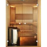 Дверь для сауны двойная Harvia 17х21, коробка ольха, стекло бронза