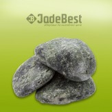 Нефрит шлифованный (тёмно-болотный) для бани и сауны, 1 кг в пластиковом ведре