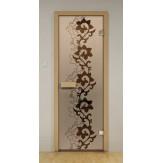 Стеклянная дверь для бани и сауны Aldo ДСМ Чайный декор 790х1990мм