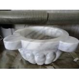 Курна 3 для турецкой бани пристенная 430*430*300 белая