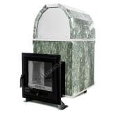 Чугунная печь Калита-М арочная в талькохлорите дверца нержавеющая сталь