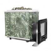 Дровяная печь Калита Классик в облицовке из талькохлорита, дверца с вертикальным механизмом открывания