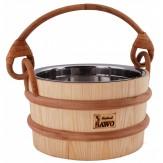 Ведро деревянное для сауны и бани Sawo 341–МР из сосны со вставкой из нержавеющей стали объем 4л